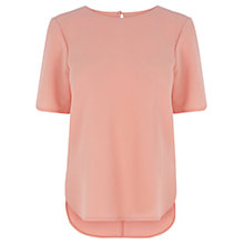 Buy Warehouse Crepe Side Split Tee, Peach Online at johnlewis.com