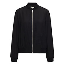 Buy Whistles Silk Bomber Jacket, Black Online at johnlewis.com