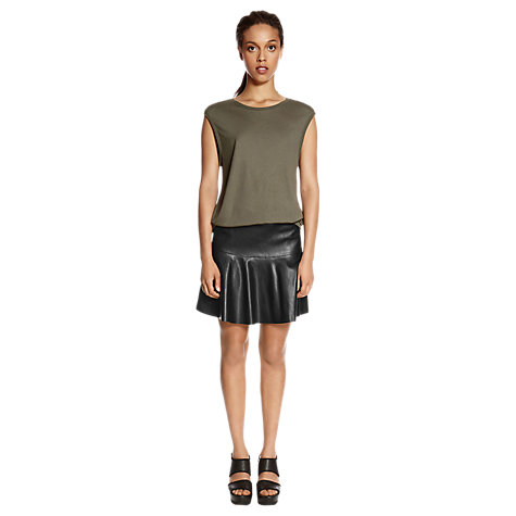 Buy Warehouse Rib Neck T-shirt, Khaki Online at johnlewis.com
