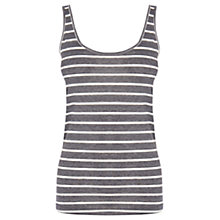 Buy Warehouse Stripe Scoop Neck Vest Top, Light Grey Online at johnlewis.com