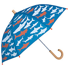 Buy Hatley Children's Shark Print Umbrella, Blue/Orange Online at johnlewis.com