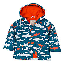 Buy Hatley Boys' Shark Print Rain Jacket, Blue/Orange Online at johnlewis.com