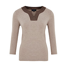 Buy Viyella Suedette Trim Jersey Top, Mink Online at johnlewis.com