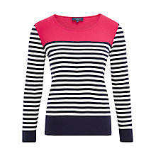Buy Viyella Petite Colour Block Stripe Top, Geranium Online at johnlewis.com