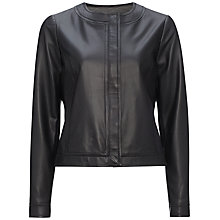 Buy Jaeger Mitre Leather Jacket, Black Online at johnlewis.com