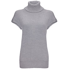 Buy Jaeger Heavy Gauge Cap Sleeve Roll Neck, Light Grey Online at johnlewis.com
