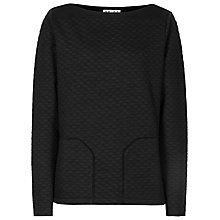 Buy Reiss Beanie Quilted Sweatshirt, Black Online at johnlewis.com
