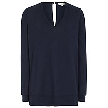 Buy Reiss Eyre Silk Back Jumper, Navy Online at johnlewis.com