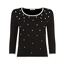 Buy Precis Petite Graduating Satin Spot Jumper, Black Online at johnlewis.com