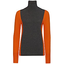 Buy Jaeger Colour Block Cashmere Roll Neck Sweater, Charcoal / Burnt Orange Online at johnlewis.com