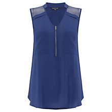 Buy Warehouse Airtex Zipped Front Blouse Top Online at johnlewis.com