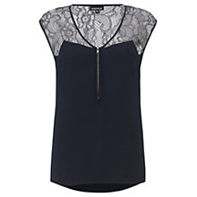 Buy Warehouse Lace Yoke Zip Front Blouse, Midnight Online at johnlewis.com