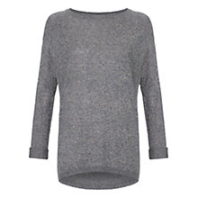 Buy Warehouse Roll Up Boyfriend Jumper, Grey Online at johnlewis.com