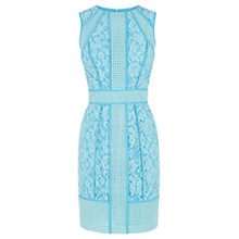 Buy Warehouse Paneled Broderie Dress, Light Blue Online at johnlewis.com