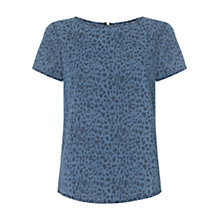 Buy Warehouse Printed Denim Tee, Indigo Online at johnlewis.com