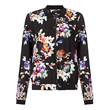 Buy Warehouse Patterned Floral Printed Bomber Jacket, Black Pattern Online at johnlewis.com