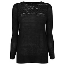 Buy Warehouse Pointelle Crew Jumper, Black Online at johnlewis.com