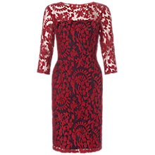 Buy Adrianna Papell Two Tone Embroidered Lace Dress, Chianti Online at johnlewis.com