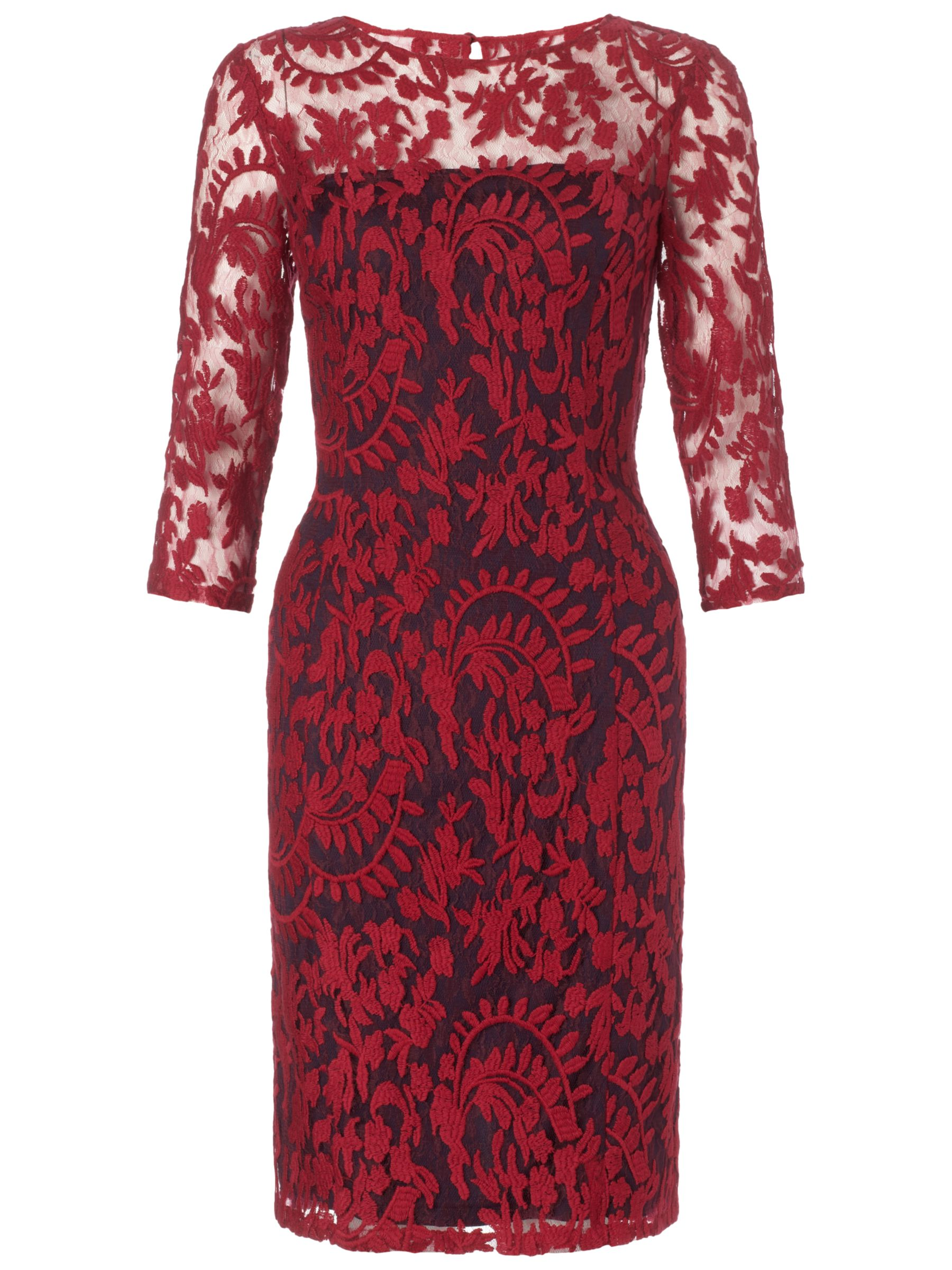 Adrianna Papell Two Tone Embroidered Lace Dress, Chianti