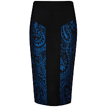 Buy Ted Baker Jacquard Panel Pencil Skirt, Black Online at johnlewis.com
