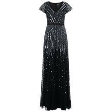 Buy Adrianna Papell Cap Sleeve Sequin Long Dress, Gunmetal Online at johnlewis.com