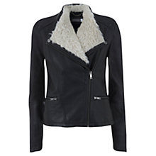 Buy Mint Velvet Faux Fur Collar Biker Jacket, Multi Online at johnlewis.com