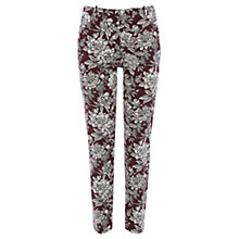 Buy Oasis Provence Floral Trousers, Burgundy / White Online at johnlewis.com