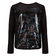 Buy Ted Baker Camouflage Sequin Jumper, Black Online at johnlewis.com