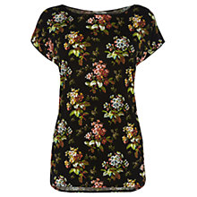 Buy Oasis Primrose Print T-Shirt, Black Online at johnlewis.com