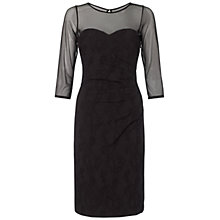Buy Adrianna Papell Illusion Neck Side Pleated Drape Dress, Black Online at johnlewis.com