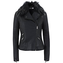 Buy Mint Velvet Fur Collar Aviator Jacket, Black Online at johnlewis.com