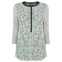 Buy Warehouse Printed Jersey Rib Blouse, Green Online at johnlewis.com