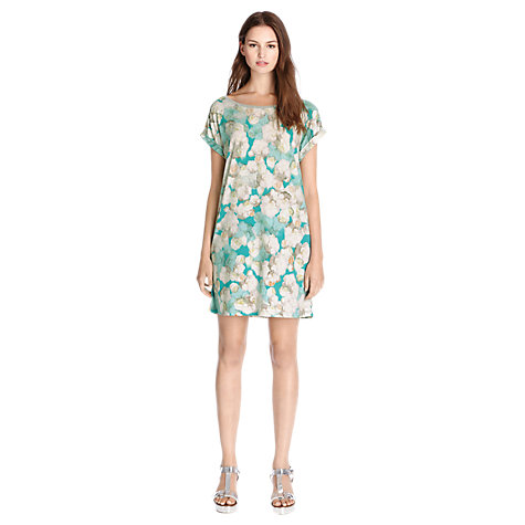 Buy Warehouse Smudgy Tunic Dress, Green Print Online at johnlewis.com