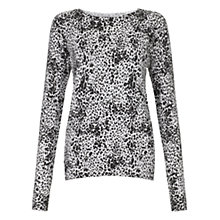 Buy Warehouse Animal Print Crew Neck Jumper, Light Grey Online at johnlewis.com
