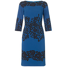 Buy Adrianna Papell Fitted Placed Print Lace Dress, Teal Online at johnlewis.com