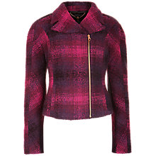 Buy Ted Baker Check Wool Biker Jacket, Purple Online at johnlewis.com