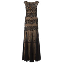 Buy Adrianna Papell Long Bead Dress, Black/Nude Online at johnlewis.com