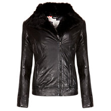 Buy Ted Baker Detachable Sleeve Leather Jacket, Black Online at johnlewis.com