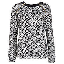 Buy Ted Baker Floral Jacquard Jumper, Black/White Online at johnlewis.com