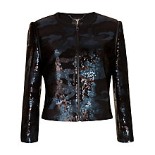 Buy Ted Baker Camouflage Sequin Jacket, Black Online at johnlewis.com