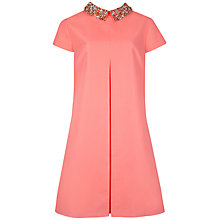Buy Ted Baker Embellished Collar Tunic Dress, Coral Online at johnlewis.com
