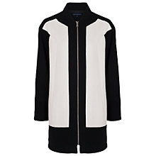 Buy French Connection Teddy Boucle Zip Coat, Black/White Online at johnlewis.com