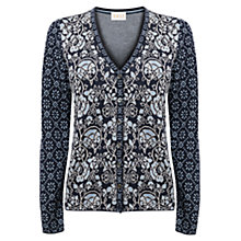 Buy East Jacquard Patchwork Cardigan, Indigo Online at johnlewis.com
