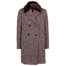 Buy French Connection Moscow Tweed Faux Fur Coat, Burgundy/Chocolate Online at johnlewis.com