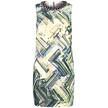 Buy Ted Baker Parquet Geo Print Embellished Dress, Green Online at johnlewis.com