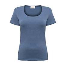 Buy East Short Sleeve Melange Top, Sky Online at johnlewis.com