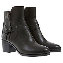 Buy Mint Velvet Khaki Clara Leather Boots, Black Online at johnlewis.com