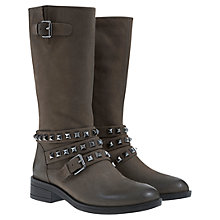 Buy Mint Velvet Zoe Nubuck Leather Calf Boots, Smoke Grey Online at johnlewis.com