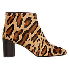 Buy Hobbs Leonie Leather Block Heeled Ankle Boots, Suede Leopard Online at johnlewis.com