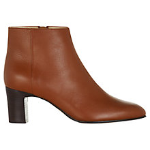 Buy Hobbs Ondine Leather Ankle Boots, Dark Tan Online at johnlewis.com